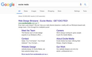 A screenshot of a Google search of the term 'Excite Media' showing page titles in the SERP.