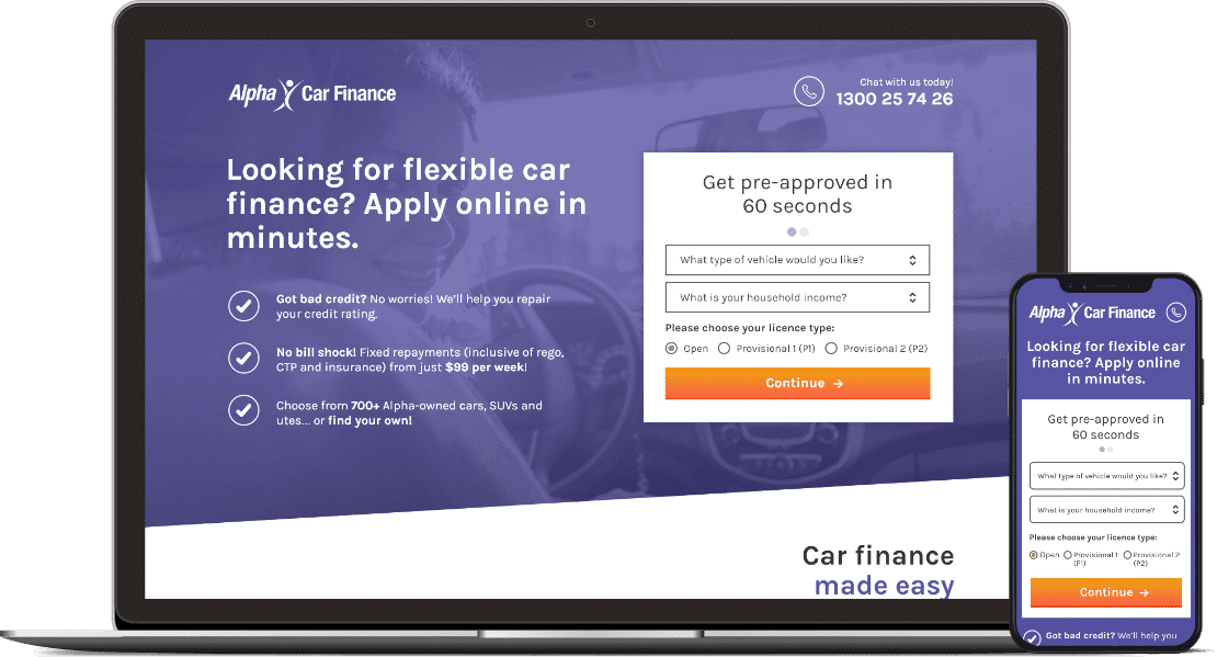 Web design project for Alpha Car Finance