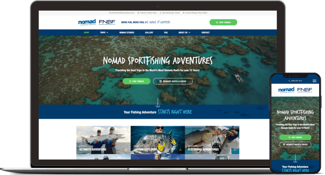 Web design project for Nomad Sportfishing