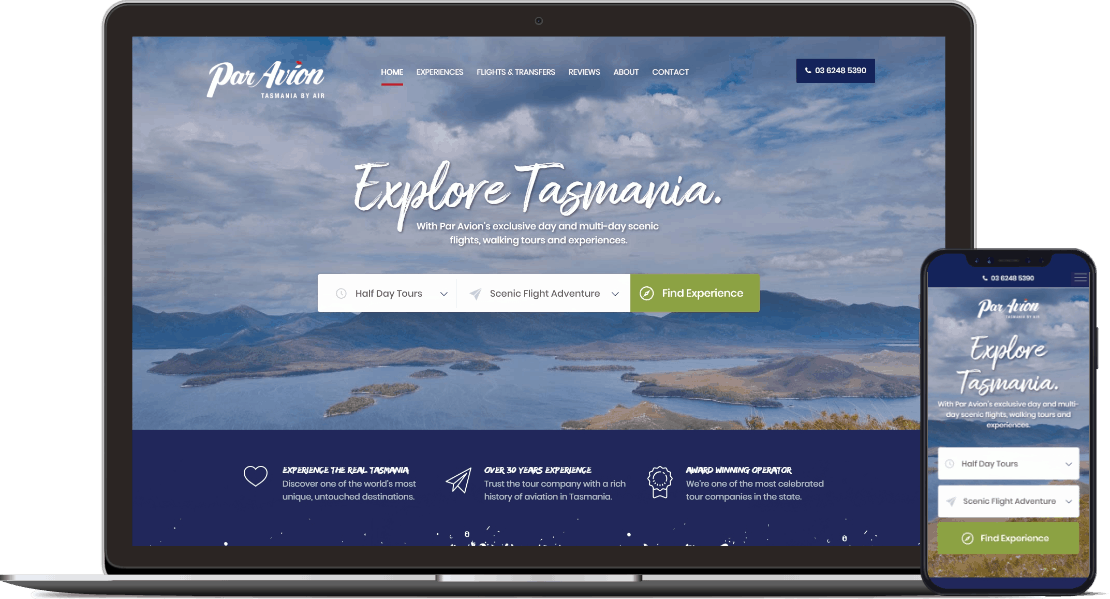 Web design project for Par Avion