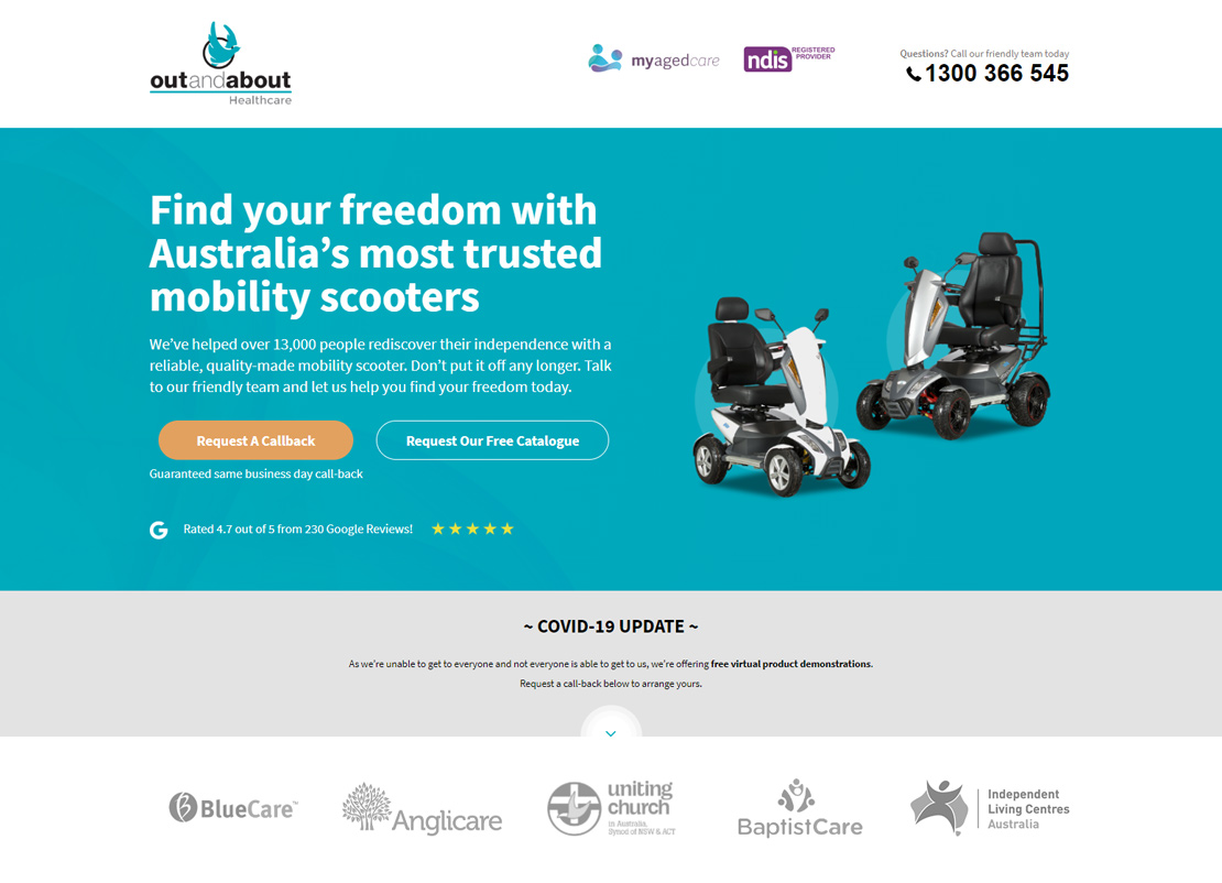 Mobility Scooter Landing Page